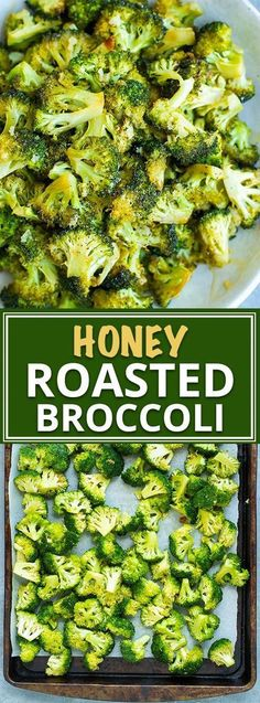 Oven roasted broccoli is tossed in a sweet sauce full of honey, garlic, and oil. This easy roasted broccoli recipe is a healthy, low-carb side dish. Brocolli Recipes, Roasted Broccoli Recipe, Garlic Recipes, Healthy Recipes, Vegetable Recipes, Vegetarian Recipes, Frozen Broccoli Recipes, Delicious Broccoli Recipe, Broccoli Recipes Side Dish Healthy