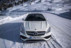Snowy tracks? No problem for the Mercedes-AMG CLA 45 Shooting Brake.  Photo by Niels Stolte for #MBsocialcar [Mercedes-AMG CLA 45 Shooting Brake | Kraftstoffverbrauch kombiniert: 7,3-6,9 l/100 km | CO₂-Emissionen kombiniert: 171-162 g/km |http://mb4.me/Rechtlicher_Hinweis/]