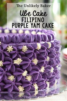 Ube cake (or Filipino purple yam cake) is unlike any cake youve had before. Its sweet and earthy and deliciously purple! A staple in any Filipino celebration. Ube Recipes, Homemade Cake Recipes, Delicious Cake Recipes, Best Dessert Recipes, Homemade Breads, Recipies, Filipino Desserts, Asian Desserts, Filipino Recipes
