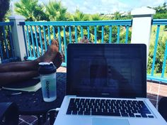 THIS is what happens when the kids are all at camp for the day! My hubby & I get to set up shop outdoors in the cool Bermuda breeze and work our own independent businesses. THIS is one of the reasons we work SO incredibly hard. We want to have the flexibility in our schedules that allow us to work remotely & on our own time. YES that means we make sacrifices on the daily and maybe work at the early morning hours or late evening hours BUT we both know that putting in the hard work NOW pays…