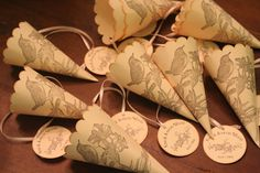Wedding Favor Paper Cones with Tag Two Birds & by FaithfulCrafter