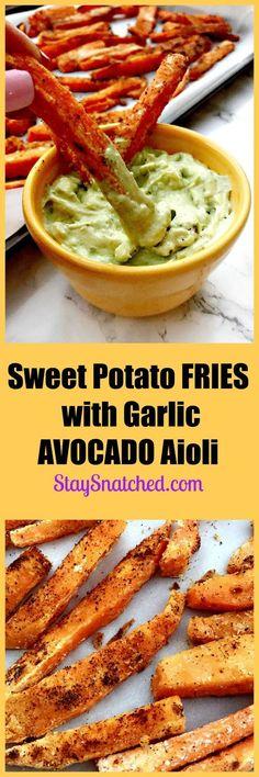 savory, crunchy sweet potato fries with creamy avocado garlic aioli sauce