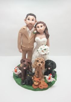 Bride and Groom with Pets Wedding Cake topper by lynnslittlecreations on Etsy