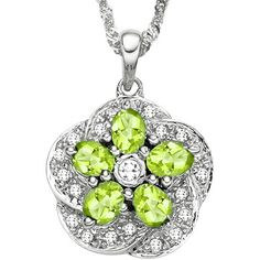 Peridot also known as Hawaii's gemstone, a spectacular flower formation lime green peridots surrounding on a clean sparkling white topaz, increasing in size wrapped in luminous 0.925 sterling silver with highly polished platinum plated for long lasting beauty. This is an unique touch of dazzling glamour will make a perfect gift for all ages. This popular stylish pendant is always at high demand, so get yours today at the best price. Chain not included. Today's price: $79.99