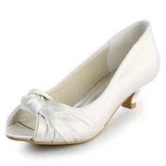 7bb3f2321b4 ElegantPark Women s Peep Toe Low Heels Pumps Knot Satin Evening Party  Wedding Bridal Shoes Ivory US 4