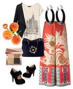 """""""burst of orange"""" by teresalovespink on Polyvore featuring Banana Republic, Etro, Gucci and Bobbi Brown Cosmetics"""