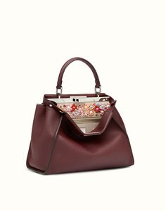 FENDI PEEKABOO REGULAR - Sac en cuir bordeaux - view 2 detail Sacs, Sacs À adf10f32d47