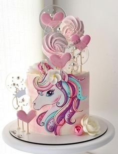 Elegant Birthday Cakes, Baby Birthday Cakes, Beautiful Birthday Cakes, Creative Cake Decorating, Cake Decorating Designs, Cake Decorating Videos, Unicorn Cake Design, Cake Designs For Kids, Fondant Cake Designs