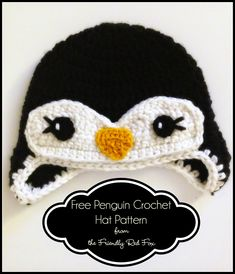 Free Penguin Crochet Hat Pattern Free crochet pattern for a little penguin hat. I love the eyelashes! It works up quickly with thick yarn. Perfect for the cold weather! Penguin Hat, Crochet Penguin, Crochet Kids Hats, Crochet Amigurumi, Crochet Beanie, Cute Crochet, Crochet Crafts, Crochet Projects, Knitted Hats