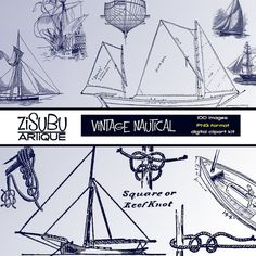 Vintage Nautical Clipart Kit in navy blue for sailing-themed scrapbooks, paper crafts, homemade cards, collages or class projects