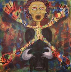 Ox rider/Maarit Korhonen, acrylic, canvas, 73cm x 73cm Dark Paintings, Original Paintings, Online Painting, Artwork Online, Dancer In The Dark, Canvas Art, Acrylic Canvas, Autumn Painting, Original Art For Sale