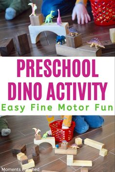 Help your toddler work those fine motor muscles while having fun at the same time! Small dinos, wooden blocks, and a big imagination get it done in this activity! #preschool #homeschool #openendedplay #invitationtoplay Dinosaurs Preschool, Dinosaur Activities, Montessori Activities, Toddler Fine Motor Activities, Indoor Activities For Toddlers, Dinosaur Train, Play Based Learning, Preschool At Home, Sensory Bins