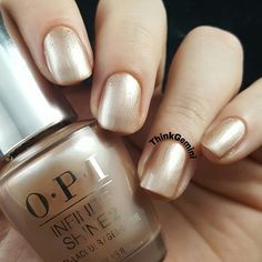 Preen.Me VIP Christine M adds a modern metallic finish to her nails using her gifted  OPI Infinite Shine 2 Nail Lacquer in Cosmo-Not Tonight Honey! She keeps it golden for #11DaysStrong with the new OPI Infinite Shine ProStay Primer and Gloss.