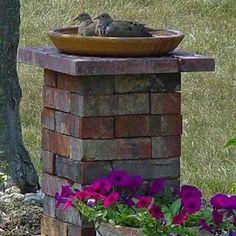 Brick Birdbath