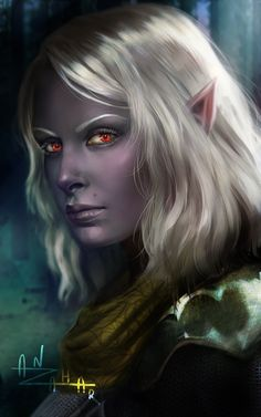 "anzahar: ""Gosh! Just started Baldur's Gate and I already love Vico ٩(♡ε♡ )۶ So yeah, new portrait for her, bc original just… ugh "" What a magnificent character portrait. I like the watchful look in her eyes."