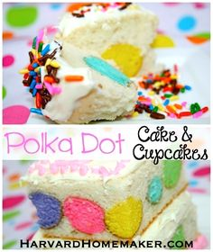 Easy Polka Dot Cake & Cupcakes.  Cute for Easter or a birthday party--or change the colors to suit any holiday or season!  Fun for kids to help you make them, too!  #cake #cupcakes #harvardhomemaker