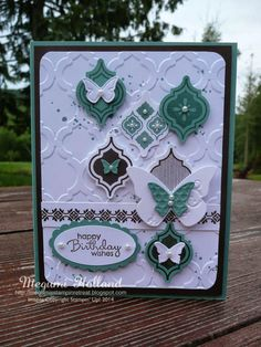 Megumi's Stampin Retreat, Mosaic Madness Stamp Set, Gorgeous Grunge Stamp Set, Petite Pairs Stamp set, Beautiful Wings Embosslit, Modern Mosaic Embossing Folder