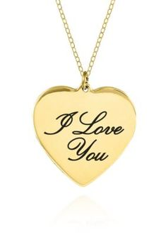 Belk & Co.  10K Yellow Gold I Love You Heart Pendant -  - No Size