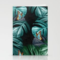 Butterflies in Tropical Paradise Stationery Cards by justkidding #Cards #graphicdesign #butterflies #green #bluegreen #black