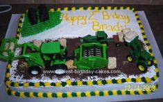 Homemade Tractors Round Baling Cake: I got this idea for a farming cake from looking at numerous cakes on this site. The cake is a 11X15 mock angel food. I frosted it with white buttercream