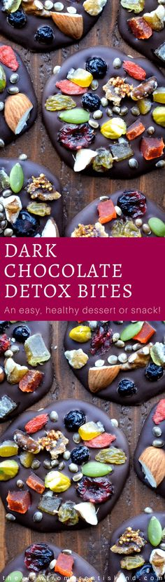 Dark Chocolate Detox Bites are the healthy way to do dessert, with anti-oxidant rich dark chocolate topped with fruits, nuts, and seeds ~ and they're just as pretty as they are delicious! #darkchocolate #healthydessert #chocolate #candy #detox #superfoods #snack #dessert #candy #homemadecandy #mendiants via @https://www.pinterest.com/slmoran21/