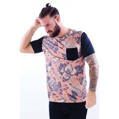 T-shirt impression à fleurs manches courtes à pois poche poitrine homme Pourris Pocket French Kick - 3Suisses