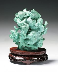 A Fine Chinese Carved Qing Turquoise Beauty On Stand.