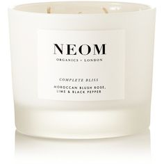 Neom Organics Complete Bliss scented candle, 380g (€66) ❤ liked on Polyvore featuring home, home decor, candles & candleholders, candles, fillers, things, white, fragrance candles, rose candle and neom organics