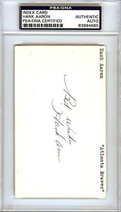 Hank Aaron Autographed/Hand Signed 3x5 Index Card Milwaukee Braves ''Best Wishes'' Vintage PSA/DNA