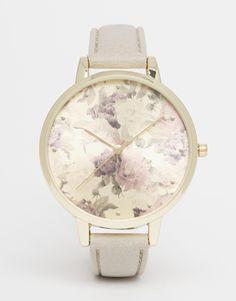 Image 1 - New Look - Montre à bracelet gris et motif floral sur le cadran