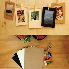 4X6 Photo deco Paper frame + Wooden clothespin + Deco string_4x6 post #MoodsViews