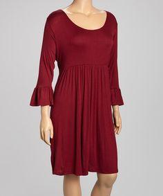 Love this Burgundy Three-Quarter Sleeve Dress- Plus on #zulily! #zulilyfinds