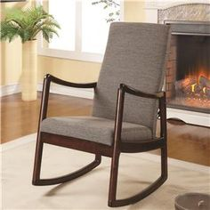 26W x 33 D Accent+Seating+Upholstered+Mid-Century+Modern+Rocking+Chair+with+Wood+Frame