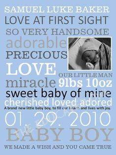 Customized Baby Boy with picture Subway Art by TheEducatedOwl, $7.00