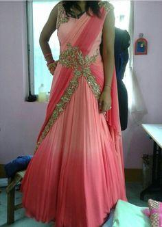 Saree gown Indian Gowns, Indian Attire, Indian Outfits, Indian Clothes, Half Saree Designs, Sari Blouse Designs, Lehenga Designs, Kurta Designs, Saree Gown