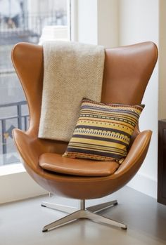 Jacobsen's egg chair and point fabric by Paul Smith
