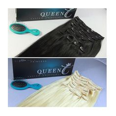 "Black or Blonde ?!  Tag a friend who would rock either the ""Jet Black"" or ""Ash Blonde"" Crown Jewels Clip-in Extensions!   BOTH available in SEVERAL lengths/grams at www.QueenCHair.com!"