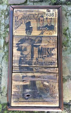 "Primitive Banjo picking rustic wall art. Fields & Manson's Music Conquerd. This wall sign captures a time in music history. Primitive chic interior design. Free shipping in U.S.A. Measures: 9.5""W x 18"