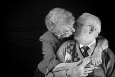 Nothing sweeter than seeing an elderly couple showing their affection for each other. <3