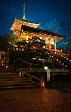 Kiyomizudera and a summer moon Kyoto, Japan