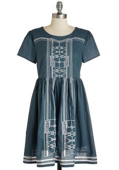 City Skipper Dress. Youre so excited to show off this navy blue dress from Dear Creatures, you can hardly keep your feet still! #blue #modcloth
