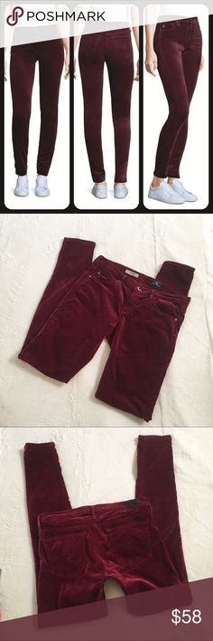 AG Adriano Goldschmied Velvet Super Skinny Legging EUC The Super Skinny Velvet Legging in a deep current, five pocket design. Made in the USA size 27 Ag Adriano Goldschmied Pants Leggings