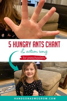 Get toddlers and preschoolers moving with this 5 Hungry Ants Chant! A super simple, no-prep and no-supply activity for kids to do at home! #grossmotoractivities Gross Motor Activities, Outdoor Activities For Kids, Sensory Activities, Hands On Activities, Toddler Activities, Learning Activities, Preschool Action Songs, Goose Craft, Learning Through Play