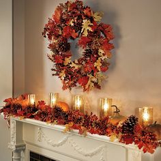 Use these gorgeous Harvest Decor accessories outdoors or indoors to add fall flair to your home. All are adorned with real pinecones, faux autumn leaves and berries, with glistening golden accents.