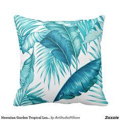 Hawaiian Garden Tropical Leaves pillow by Cheryl Daniels #tropicaliollow #beachdecor #cheryldaniels