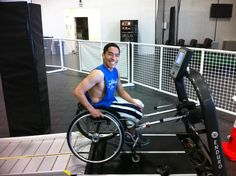 Steven preparing to train on the treadmill at Sports Performance Pro (SPP)