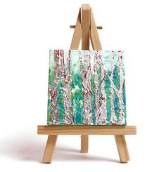 silver birch forest mini canvas and easel. Silver trees Turquoise Woodland scene Tree lover gift Original acrylic painting 5 inches
