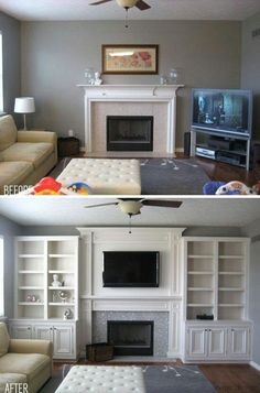Built in custom cabinets for the media center make for a great focal point.