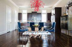 Dallas, TX based interior designer Abbe Fenimore of Studio Ten 25.  #domino  #stripes #blackwhite #mixedprints