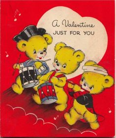 """1942 Hallmark Valentine with a trio of fife and drum playing bears, inspired by the iconic Archibald McNeal Willard painting """"The Spirit of '76."""""""
